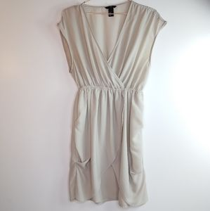 H&M taupe faux wrap dress size 8